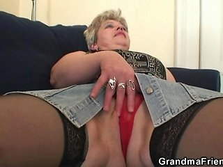 Naughty granny takes two cocks